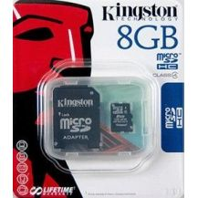 KINGSTON MicroSDHC 8Gb + adaptér